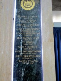 Memorial plaque with new names 2013