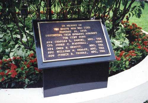 Plaque commemorating the Marine and Four MPs who died defending U.S. Embassy Saigon