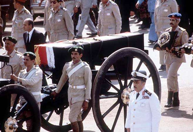 The coffin of late Egyptian President Anwar al-Sad