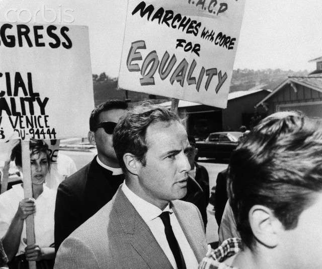 Marlon Brando Marches in Civil Rights Protest