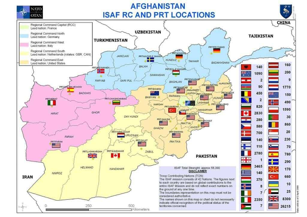 Afghanistan ISAF RCs and PRT Locations