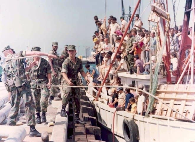 Image result for cubans in the mariel boatlift arrive in the u.s.