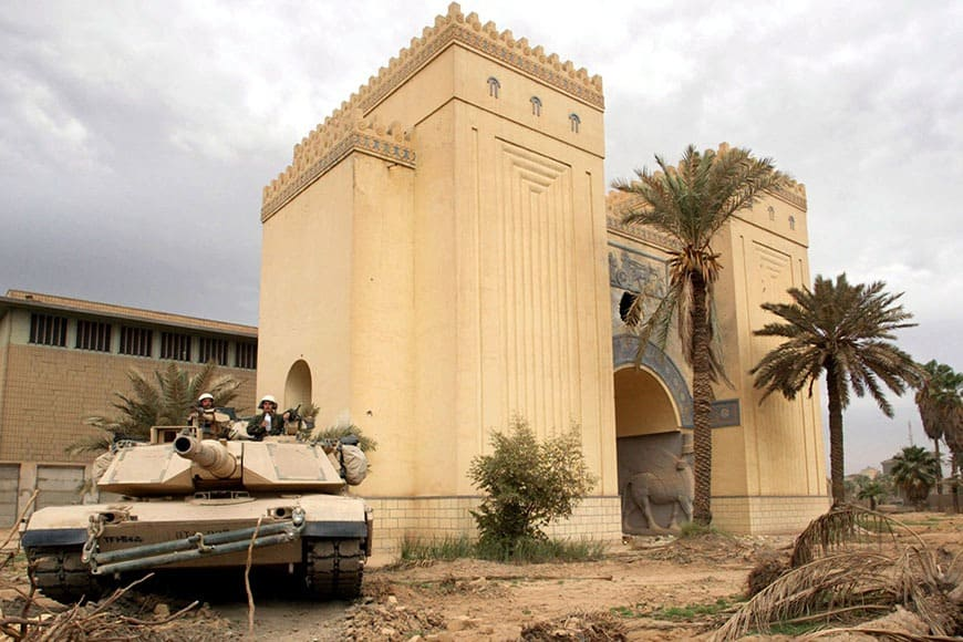 U.S. tank takes up position in the Iraqi museum in Baghdad, April 16, 2003. [Defence Secretary Donal..