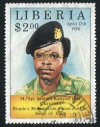 LIBERIA-CIRCA-1983-Samuel-Kanyon-Doe-was-the-President-of-Liberia-from-1980-to-1990-circa-1983--Stock-Photo
