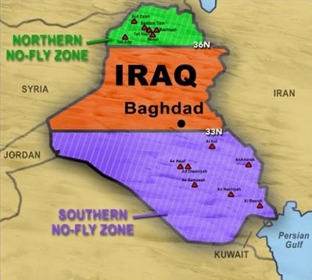 Iraq no fly zone map