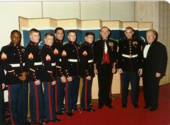 1985 - Ambassador Walker and Commandant of the Marine Corps General P_X_ Kelly with Detachment Marines - Seoul