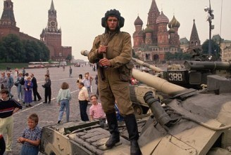 Soviet Coup Loyalist on Tank in Red Square