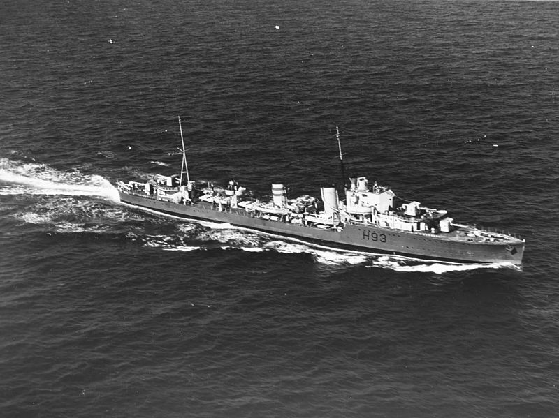 The Royal Navy destroyer HMS Hereward (H93), photographed by a U.S. Army aircraft, 25 km south of Alligator Light, Florida (20 December 1939)   US Navy