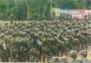 FARC guerrillas marching in formation during the Caguan peace talks (1998) DEA Public Affairs | Wikipedia