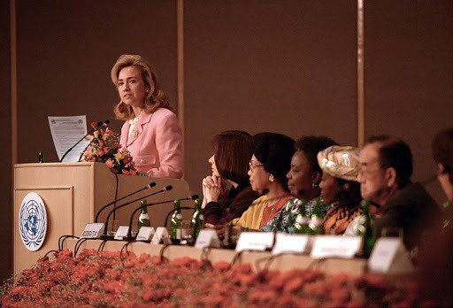 Hillary Clinton at the United Nations Conference on Women in Beijing, China (5 September 1995) Sharon Farmer/White House Photograph Office | Wikimedia Commons