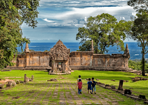 A group of children visiting Preah Vihear  Helistar Cambodia  (2019)