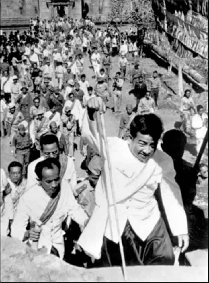 Former King/Prime Minister of Cambodia, Norodom Sihanouk, leads Cambodians to Preah Vihear following Court decision  Royal Palace  (1962)