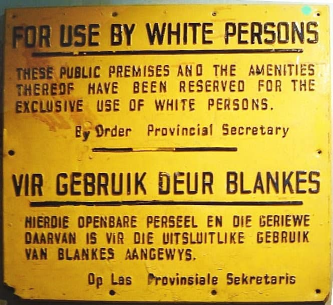 Apartheid sign in English and Afrikaans  Wikimedia