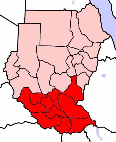 Southern Sudan Map (2005) GNU | Wikimedia