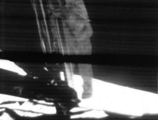 Neil Armstrong (1930–2012), commander of NASA's Apollo 11 mission, descends the ladder of the Apollo Lunar Module to become the first human to set foot on the surface of the Moon (1969) National Aeronautics and Space Administration | Wikimedia Commons