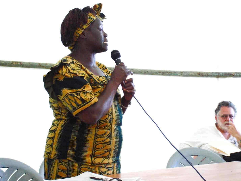 Wangari Maathai speaking at the World Social Forum. 27 January, 2007.