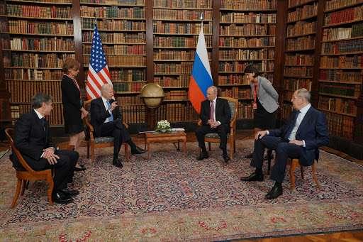Joe Biden and Vladimir Putin at 2021 Geneva Summit (2021) White House | Wikimedia Commons