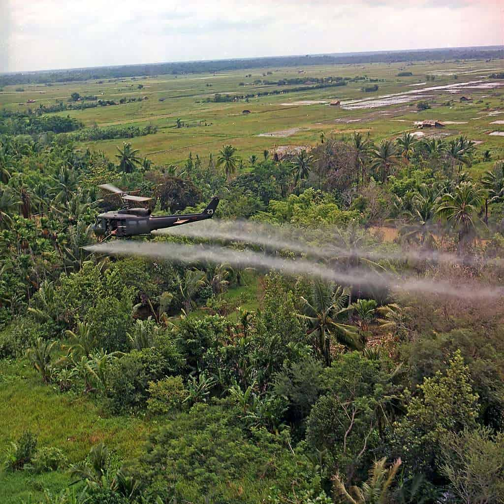 Spraying of defoliation agent over farmland in the Mekong Delta   Wikimedia Commons