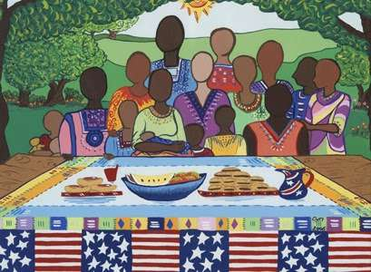 July 4th Family Reunion, Tempera and gouache Cynthia Farrell Johnson | U.S. Department of State